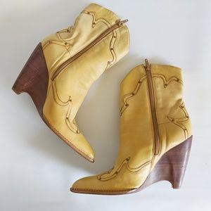 BCBGgirls cowgirl inspired yellow wedge boots, 9